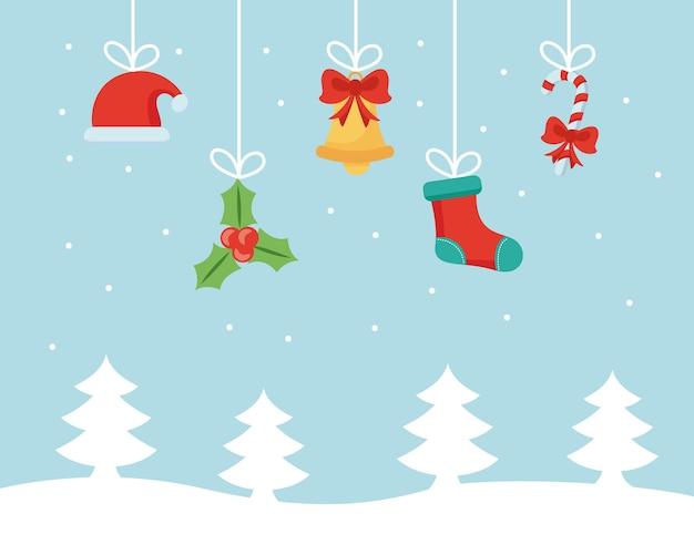 Vrolijke kerstmis vastgestelde vlakke pictogrammen die in het ontwerp van de snowscapeillustratie hangen
