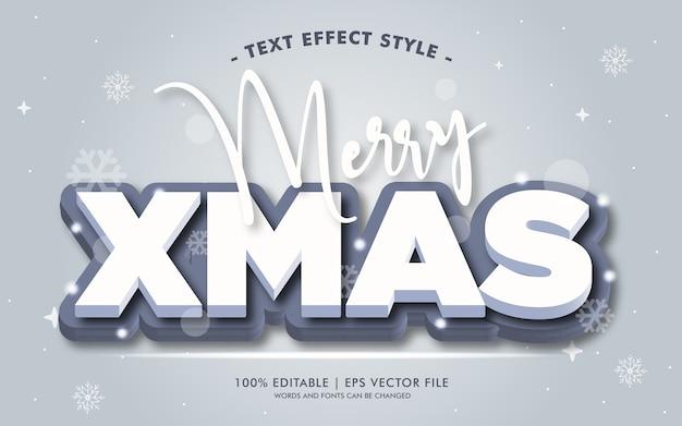 Vrolijke kerstmis wit 3d tekst effecten stijl