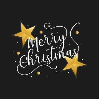 Vrolijke kerstmis witn gouden sterren