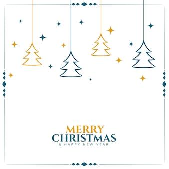 Vrolijke kerstmis witte achtergrond met boomdecoratie