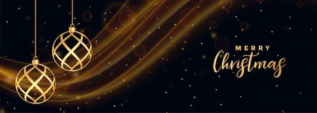 Vrolijke kerstmis zwarte banner met gouden kerstmisballen