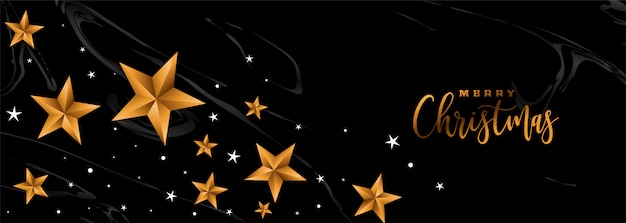 Vrolijke kerstmis zwarte banner met gouden sterren