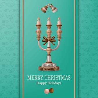 Vrolijke kerstmisachtergrond en gelukkig nieuwjaar met ballen, klokken en kandelaar