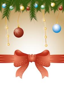 Vrolijke kerstmisachtergrond met ballen en bladerendecoratie