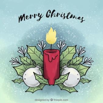 Vrolijke kerstmisachtergrond met een hand getrokken verfraaide kaars Gratis Vector
