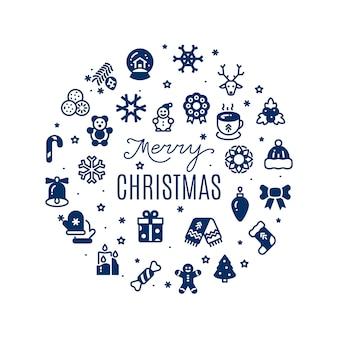 Vrolijke kerstmisachtergrond met feestelijke pictogrammensilhouetten die op wit worden geïsoleerd