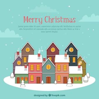 Vrolijke kerstmisachtergrond met huizen in lineaire stijl