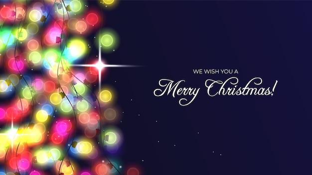 Vrolijke kerstmisachtergrond met lichte slinger Gratis Vector
