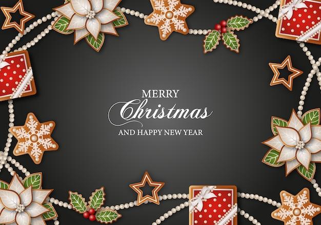 Vrolijke kerstmisachtergrond met peperkoekkoekjes