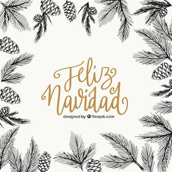 Vrolijke kerstmisachtergrond met schetsen van bladeren en ananassen