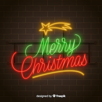Vrolijke kerstmisachtergrond van het neon