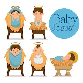 Vrolijke kerstmisbaby jesus die in een trog ligt