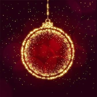 Vrolijke kerstmisbal die met fonkelingenachtergrond wordt gemaakt