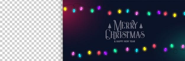 Vrolijke kerstmisbanner met lichten en beeldruimte