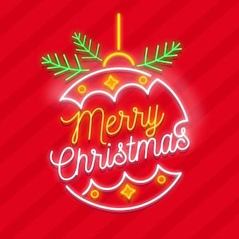 Vrolijke kerstmisbol in neon