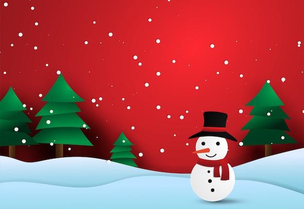 Vrolijke kerstmisdocument sneeuwman in winterseizoen.
