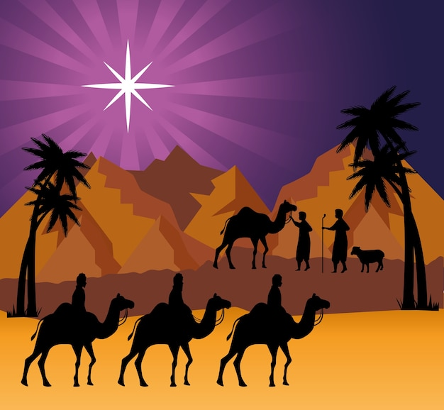 Vrolijke kerstmisgeboorte drie wijze mannen bij woestijnontwerp, winterseizoen en decoratie