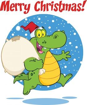 Vrolijke kerstmisgroet met het beeldverhaalkarakter die van de krokodilkerstman met zak lopen