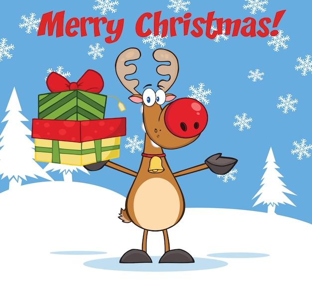 Vrolijke kerstmisgroet met rendier