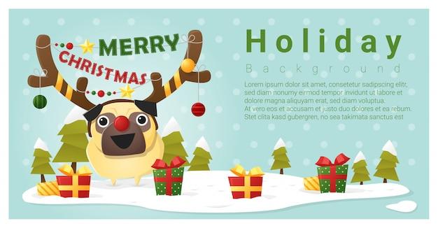 Vrolijke kerstmisgroetachtergrond met hond