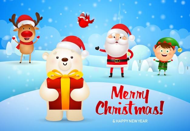 Vrolijke kerstmisillustratie en ijsbeer met giftdoos