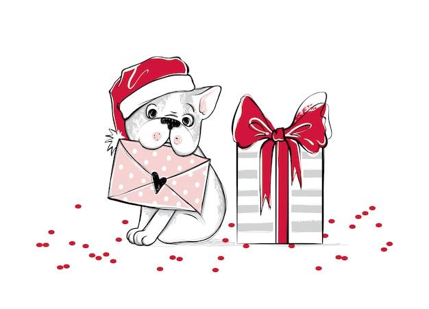Vrolijke kerstmisillustratie met grappige hond