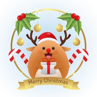 Vrolijke kerstmisillustratie met leuk rendier