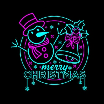 Vrolijke kerstmisillustratie met neonkleur