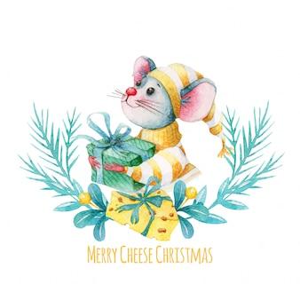 Vrolijke kerstmisillustratie met waterverfmuis en kaas