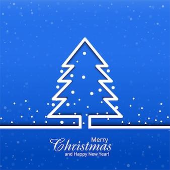 Vrolijke kerstmiskaart met boom blauwe achtergrond