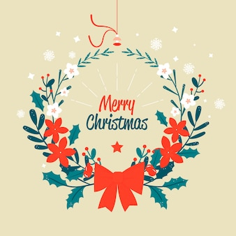 Vrolijke kerstmiskroon met rood booglint