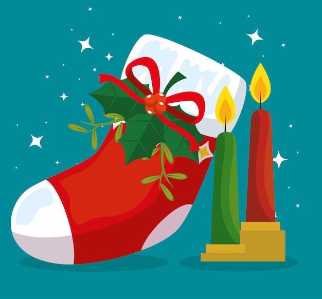 Vrolijke kerstmislaars met lintboog en kaarsen