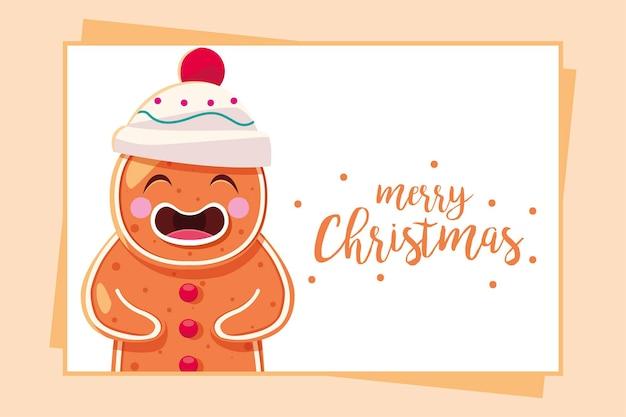 Vrolijke kerstmispeperkoek in kaart, winterseizoen en decoratiethema