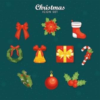 Vrolijke kerstmispictogrammen op groen ontwerp als achtergrond, winterseizoen en decoratiethema