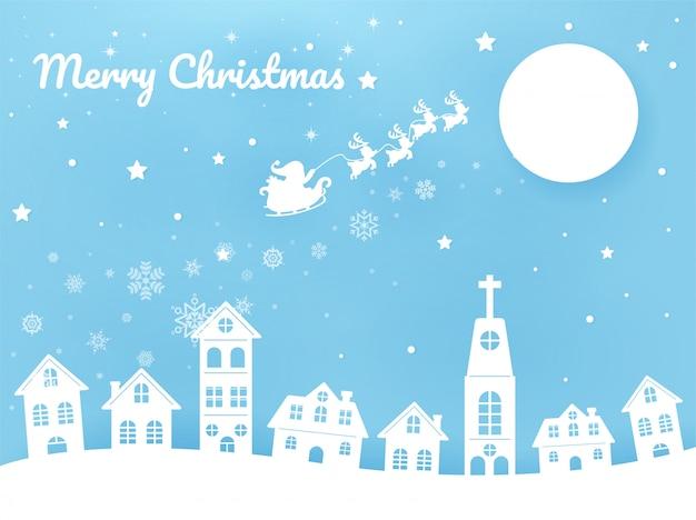 Vrolijke kerstmissanta berijdt een riksja in de hemel in de stad