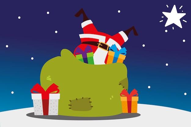 Vrolijke kerstmissanta in zak met de decoratieillustratie van de giftenviering