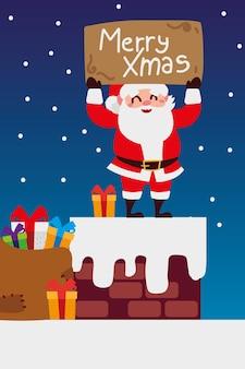 Vrolijke kerstmissanta met belettering en geschenken in de illustratie van de schoorsteenviering