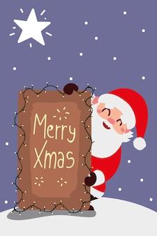 Vrolijke kerstmissanta met belettering en lichtendecoratieillustratie