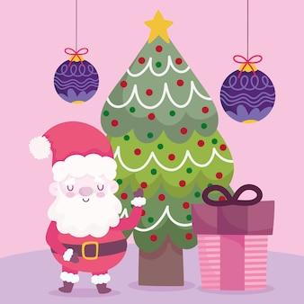 Vrolijke kerstmissanta met boomgift en ballendecoratie en vieringsillustratie