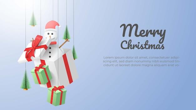 Vrolijke kerstmissneeuwman en geschenkdoos