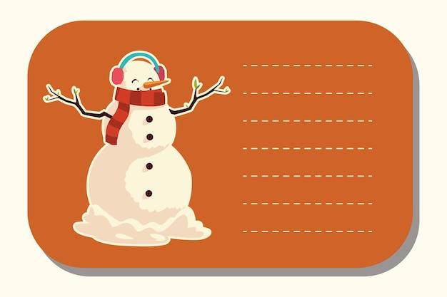 Vrolijke kerstmissneeuwman met de illustratie van de oorkappensticker
