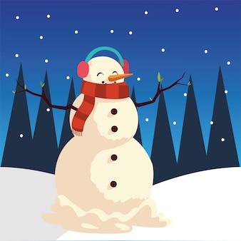 Vrolijke kerstmissneeuwman met oorkappen in de illustratie van de sneeuwviering