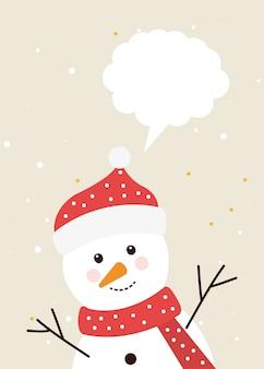 Vrolijke kerstmissneeuwman met toespraakbel