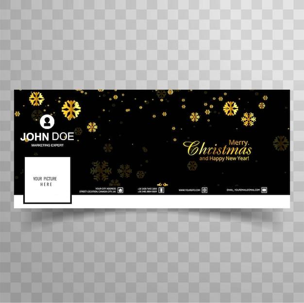 Vrolijke kerstmissneeuwvlok met het ontwerp van het facebookbannermalplaatje