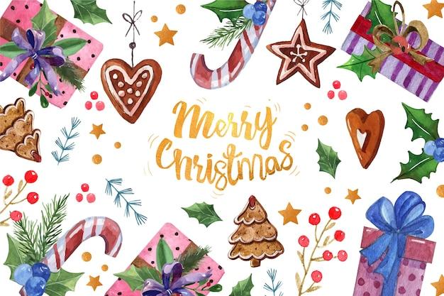 Vrolijke kerstmistekst die door kerstmisdecoratie wordt omringd