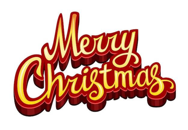 Vrolijke kerstmistekst die op wit wordt geïsoleerd