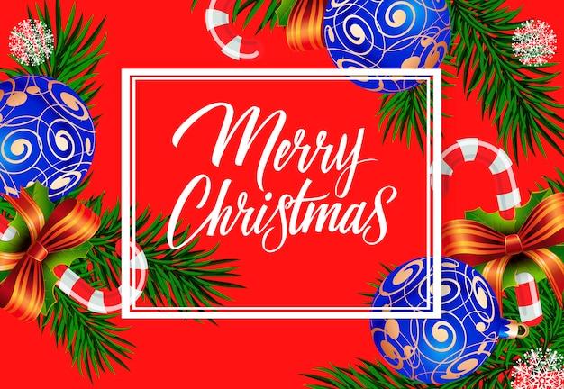 Vrolijke kerstmistekst met versierde snuisterijen