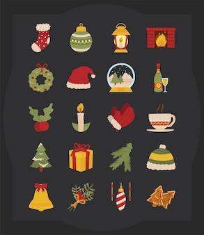 Vrolijke kerstpictogrammen bundelen ontwerp, winterseizoen en decoratiethema
