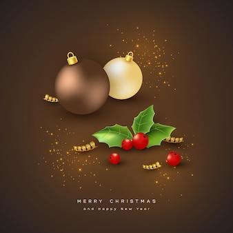 Vrolijke kerstvakantie achtergrond met snuisterij, spar en hulst. glitter gloeiend ontwerp, zwarte achtergrond. vector illustratie.