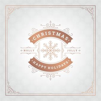 Vrolijke kerstvakantie wensen wenskaart en vintage ornamentdecoratie
